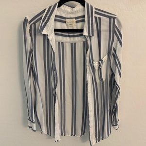 Lightweight striped oversized button down